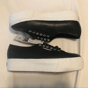 Brand New Superga Leather Platform Sneakers